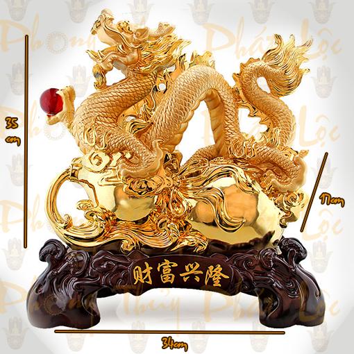 Rồng Cầm Ngọc Mạ Vàng PT06RV - Rồng Phong Thủy  