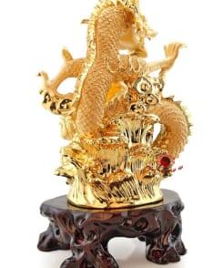 rồng phong thủy rồng ôm châu mạ vàng 3