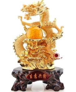 rồng phong thủy rồng ôm châu mạ vàng 4