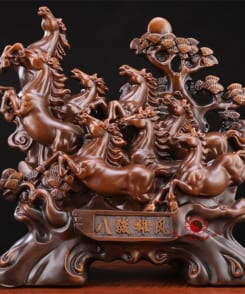 tượng bát mã hùng phong gỗ 3