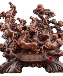 tượng bát mã hùng phong gỗ 4