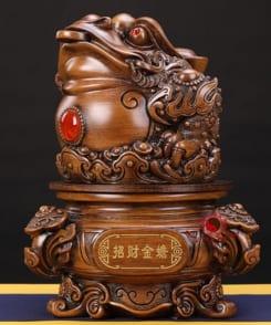 tượng cóc ngậm tiền gỗ 1
