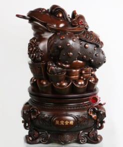 tượng cóc thiềm thừ ngậm tiền bằng gỗ 3