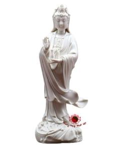 tượng bồ tát quan âm đứng bằng sứ trắng 5
