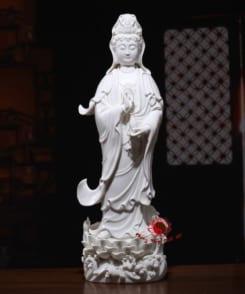 tượng đứng ngài quan âm sứ trắng 4