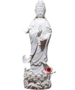 tượng đứng ngài quan âm sứ trắng 5