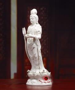tượng phật quan âm đứng đài sen sứ trắng 3