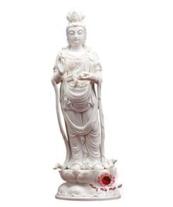 tượng phật quan âm đứng đài sen sứ trắng 4