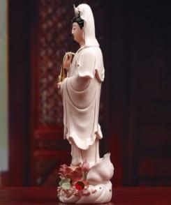 tượng quan thế âm đứng áo hồng 3