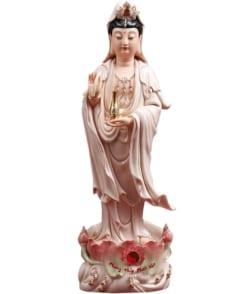 tượng quan thế âm đứng áo hồng 4