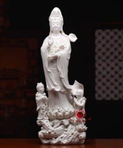 tượng sứ mẹ quan âm đứng màu trắng 5