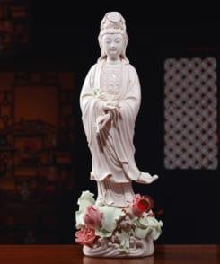 tượng thờ phật quan âm đứng tòa sen hồng 3