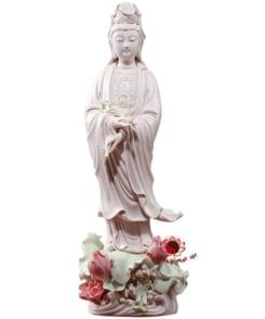 tượng thờ phật quan âm đứng tòa sen hồng 4