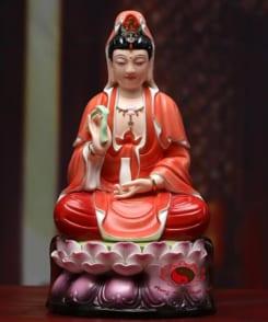 bộ tượng tây phương tam thánh màu đỏ 3