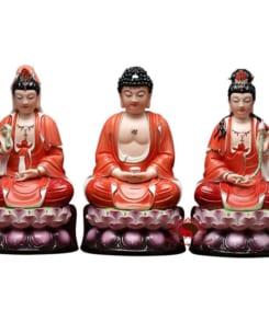 bộ tượng tây phương tam thánh màu đỏ 4