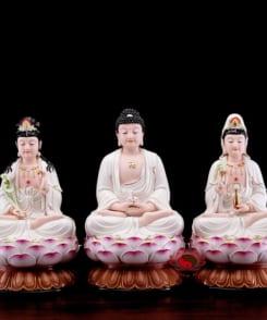 bộ tượng thờ tây phương tam thánh ngồi 4