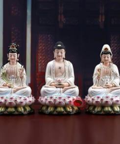 tây phương tam thánh ngồi tòa sen màu trắng 5