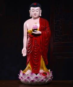 tượng a di đà đứng bằng gốm sứ màu đỏ 5