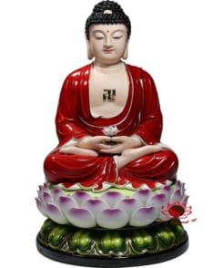 tượng a di đà màu đỏ gốm sứ cao cấp 4