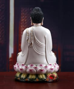 tượng a di đà phật ngồi tòa sen màu trắng 3