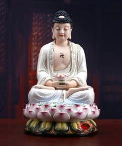 tượng a di đà phật ngồi tòa sen màu trắng 4