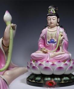 tượng đại thế chí màu hồng ngồi tòa sen 3