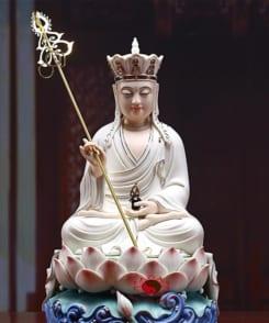 tượng địa tạng ngồi tòa sen gốm sứ cao cấp 5