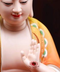 tượng địa tạng vương ngồi màu đỏ vẽ gốm 7