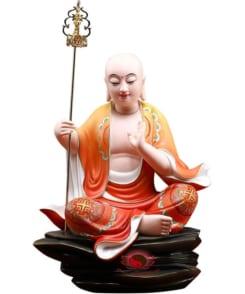 tượng địa tạng vương ngồi màu đỏ vẽ gốm 8