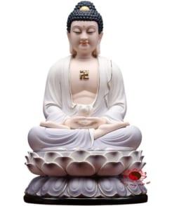tượng đức a di đà ngồi tòa sen màu tím 5