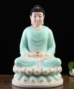 tượng đức phật thích ca ngồi tòa sen màu xanh 3