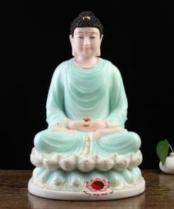 tượng đức phật thích ca ngồi tòa sen màu xanh 4