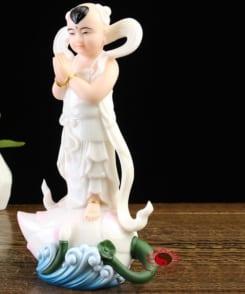 tượng kim đồng ngọc nữ đẹp màu trắng 1
