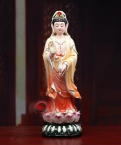 tượng màu tây phương tam thánh đứng bằng gốm 3