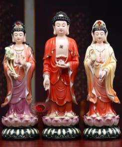 tượng màu tây phương tam thánh đứng bằng gốm 4