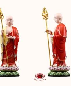 tượng ngài địa tạng vương bồ tát đứng màu đỏ 5