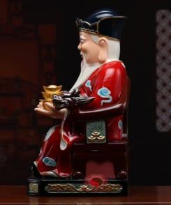 tượng ông tài phát màu đỏ bằng gốm 3