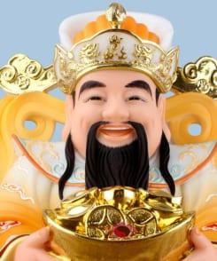 tượng ông thần phát dâng tiền màu vàng 4