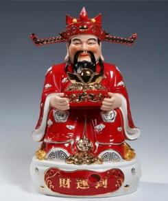 tượng ông thần phát màu đỏ bằng gốm 7