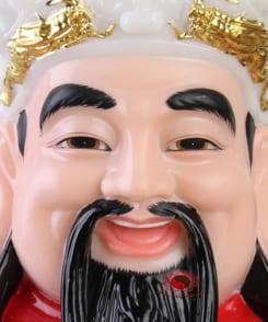 tượng ông thần tiền cẩm thạch màu đỏ 8