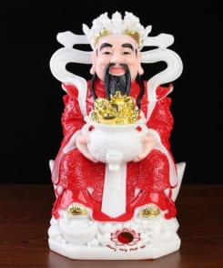 tượng ông thần tiền cẩm thạch màu đỏ 9