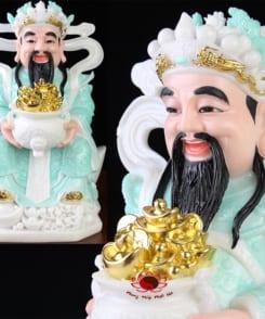 tượng ông thần tiền cẩm thạch màu xanh 8