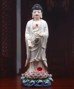 tượng phật a di đà đứng gốm sứ cao cấp 3