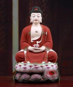 tượng phật a di đà màu đỏ bằng gốm 1