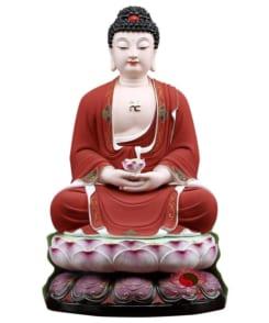 tượng phật a di đà màu đỏ bằng gốm 3