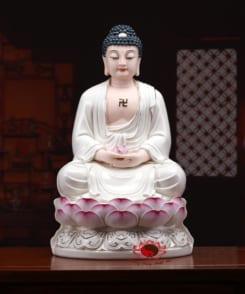 tượng phật a di đà màu trắng bằng gốm 6