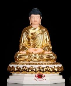 tượng phật thích ca bằng đá cẩm thạch màu vàng 4