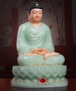 tượng phật thích ca đẹp bằng đá cẩm thạch màu xanh 1