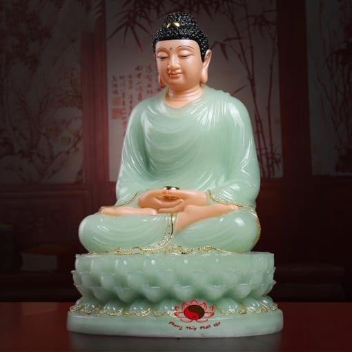 tượng phật thích ca đẹp bằng đá cẩm thạch màu xanh 4
