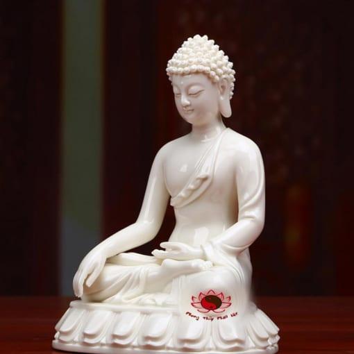 tượng phật thích ca mâu ni bằng sứ trắng 2